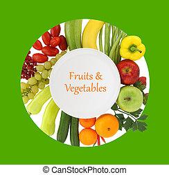 prato, ao redor, legumes, aquilo, frutas, vazio
