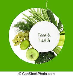 prato, ao redor, legumes, aquilo, verde, frutas, branca