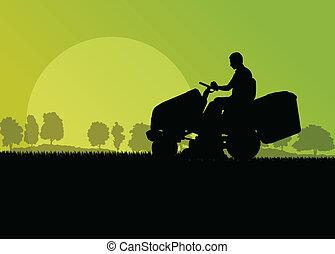 prato, astratto, illustrazione, falciatore, campo, taglio, vettore, trattore, fondo, erba, paesaggio, uomo