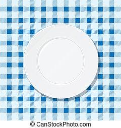 prato azul, toalha de mesa