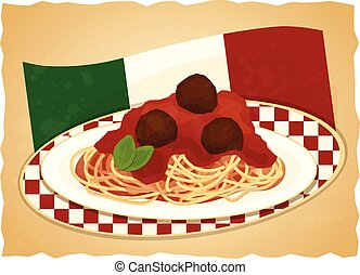 prato, bandeira, espaguete, italiano
