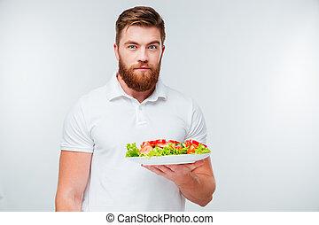 prato, barbudo, salada, holing, fresco, retrato, homem