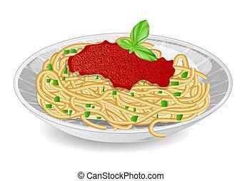 prato, branca, espaguete