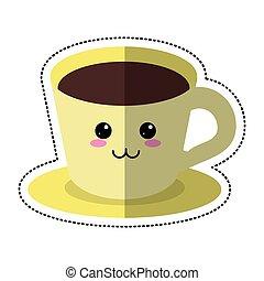 prato, café, caricatura, copo