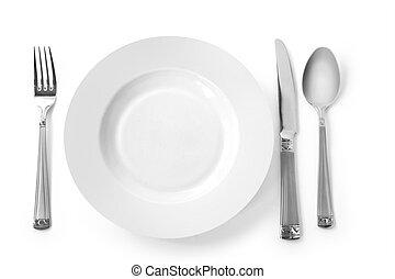 prato, com, garfo, faca, e, colher