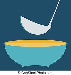 prato, com, ladle, vetorial, illustration., jogo, de, cozinha, itens