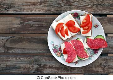 prato, com, variedade queijo, lanches, ligado, tabela madeira