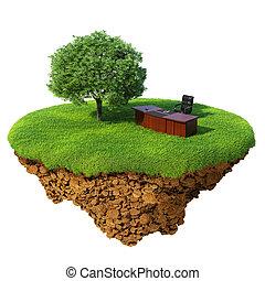 prato, con, albero, ufficio, tavola, e, sedia, su, il, poco, multa, isola, /, planet., uno, pezzo, di, terra, in, il, aria., dettagliato, suolo, in, il, base., concetto, di, successo, in, affari, innovazione, refresh.