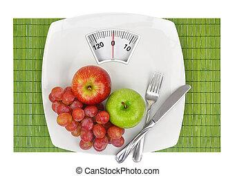 prato, escala, pesando, fruta, fresco