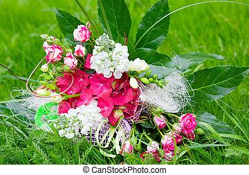 prato, fiori, colorito, mazzo