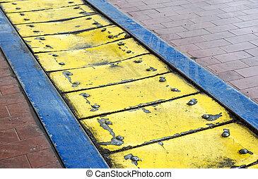 prato, industrial, chão, anti-fall, metal, amarela, painéis