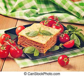prato, ingredientes, vindima,  flavorful,  retr, gostoso, lasanha