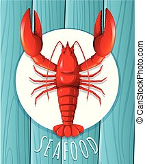 prato, lagosta, vermelho