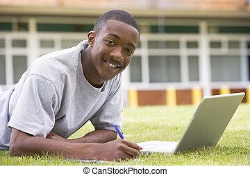 prato, laptop, studente università, usando, università