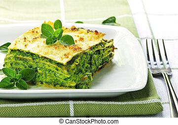prato, lasanha, vegeterian