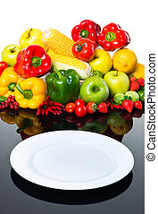 prato, legumes, fresco, vazio, frutas