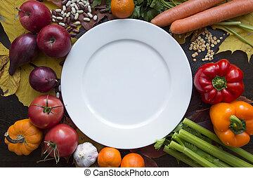 prato, legumes, vário, topo branco, vazio, vista