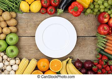 prato, legumes, vazio, frutas
