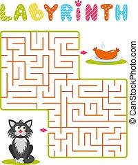 prato, linguiça, quadrado, ajuda, cinzento, labirinto, sausage., puzzle., achar, experiência., jogo, kids., maneira, gato branco, maze., crianças, caricatura