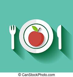 prato., maçã, vermelho