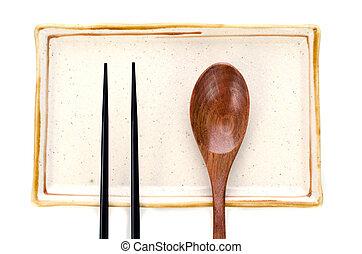 prato, madeira, cerâmico, alimento, colher, chopsticks, pronto, asiático