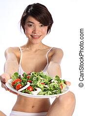 prato, menina, japoneses, salada