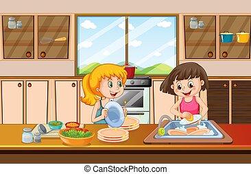 prato, meninas, limpeza, cozinha