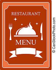 prato, menu, cozinha, fundo, utensílio
