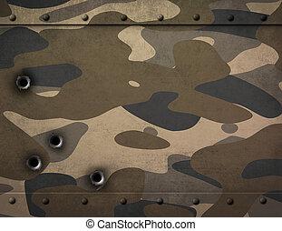 prato metal, com, camuflagem, e, buracos bala, 3d, ilustração