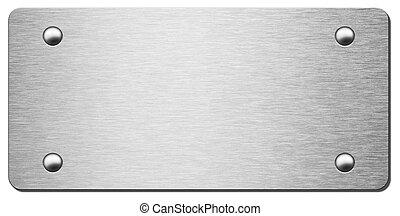 prato metal, com, sombra, isolado, 3d, ilustração
