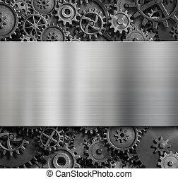 prato metal, fundo, com, cogs, e, engrenagens, 3d, ilustração