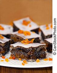 prato, oferecendo, laranja, bolo, papoula, decorado, semente