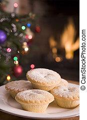prato, pique tortas, fogo registro, e, árvore natal