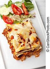 prato, quadrado, lasanha, italiano