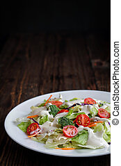 prato, salada, fazenda, rústico, fundo, vestindo, fresco