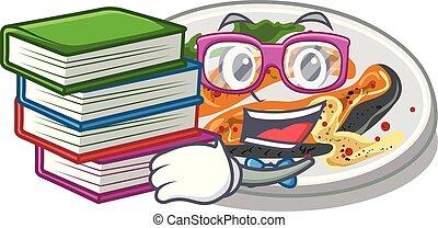 prato, salmão, livro, estudante, grelhados, caricatura