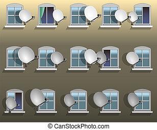 prato, satélite, janela