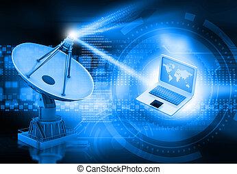 prato satélite, transmissão, dados