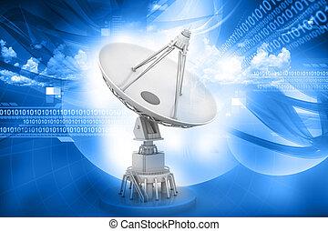 prato satélite, transmissão, dados, ligado, abstratos, fundo