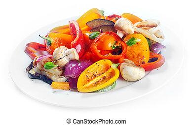 prato, suculento, legumes, lado, assado
