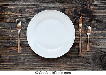 prato, tiro, jantar, acima, branca, vazio
