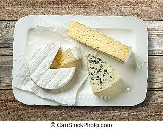 prato, vário, queijo, ligado, tabela madeira
