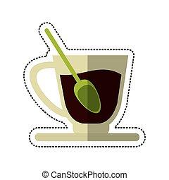prato, xícara café, colher, caricatura