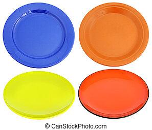 pratos, cerâmico, multi-colorido