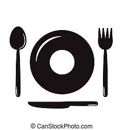 pratos, colheres, garfos, e, knives(fo