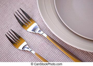 pratos, e, cutelaria