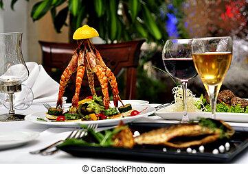 pratos, em, a, restaurante