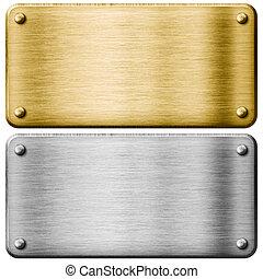 pratos, metal, isolado, ouro, prata