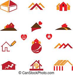 prawdziwe biuro, handlowy, &, dom, ikony, stan, logo