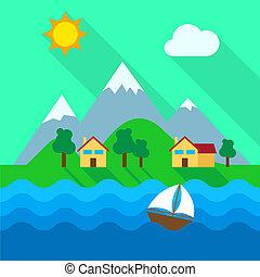 prawdziwy, żyjący, kasownik, stan, okolica, -, jezioro, ilustracja, przód, posiadanie, albo, 3d